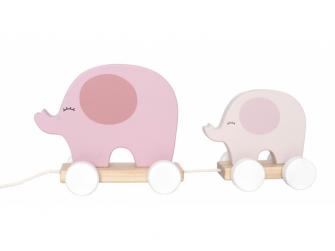 Hračka na tahání slon růžový