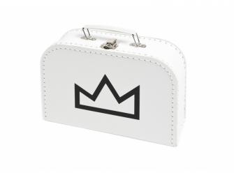 Kufřík M bílý s motivem korunka - černá