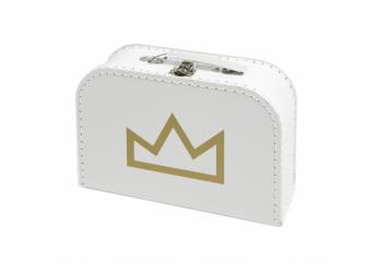 Kufřík M bílý s motivem korunka - zlatá