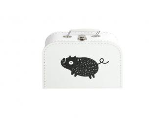 Kufřík M bílý s motivem Štětináč - černá