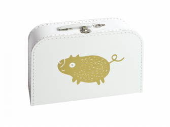 Kufřík M bílý s motivem Štětináč - zlatá