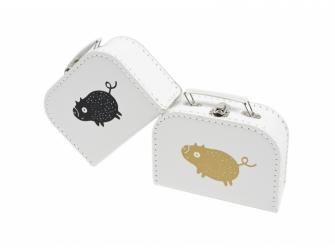 Kufřík M bílý s motivem Štětináč - zlatá 2