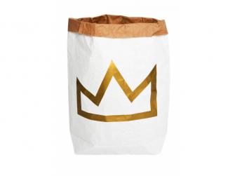 Papírový pytel na hračky - korunka - zlatá