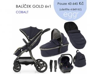 2 SET GOLD 6 v 1 COBALT / Gun metal, kočárek, korba, autosedaška, multiadaptér, batoh, fusak