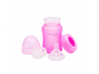 láhev sklo s teplotním senzorem Healthy+ 150 ml Cerise Pink 3