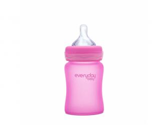 láhev sklo s teplotním senzorem Healthy+ 150 ml Cerise Pink