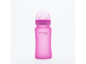 láhev sklo s teplotním senzorem Healthy+ 240 ml Cerise Pink