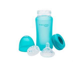 láhev sklo s teplotním senzorem Healthy+ 240 ml Turquoise 2