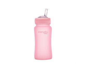 láhev sklo s brčkem Healthy+ 240 ml Rose Pink 2