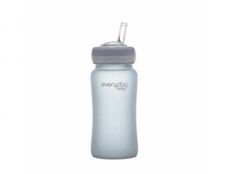 láhev sklo s brčkem Healthy+ 240 ml Quiet Grey 2