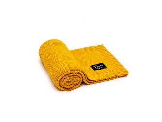 Pletená deka, mustard