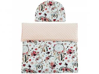 Luxusní dětská deka s polštářem do kočárku MINKY 3 v 1, lososová 65x85, 35x27 cm