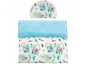 Luxusní dětská deka s polštářem do kočárku MINKY 3 v 1, modrá 65x85, 35x27 cm