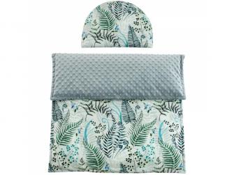 Luxusní dětská deka s polštářem do kočárku MINKY 3 v 1, 65x85, 35x27 cm šedá