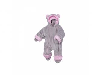Zimní kojenecký overal Minky Teddy   růžová 56 - 62 2