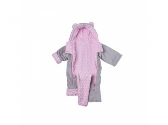 Zimní kojenecký overal Minky Teddy | růžová 68 - 74 3