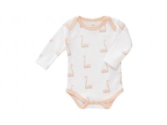 Body s dlouhým rukávem Swan pale peach, newborn
