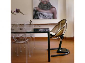 Židlička Moon 2G chrom / černá + opěrka nohou 6