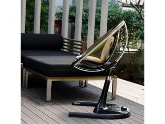 Židlička Moon 2G chrom / černá + opěrka nohou 7