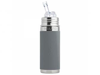 TERMO láhev s brčkem 260ml - šedá