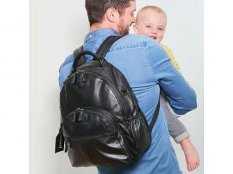 JOY XL BLACK-kožený přebalovací batoh 4