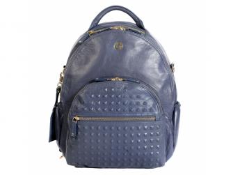 JOY XL BLUE STEEL STUDD - kožený přebalovací batoh