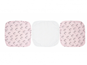 Mušelínové žínky na obličej Racoon Pink 3ks