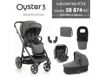3 Luxusní set 6 v 1 MANHATTAN (CITY GREY rám) kočár + hl.korba + autosedačka + adaptéry + fusak + taška