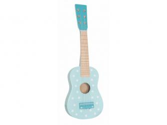 Dřevěná kytara modrá