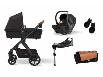Set N° ONE 2021 MAXI Black (kočár, autosedačka, Isofix base, adaptéry, pláštěnka, organizér, přebalovací taška)