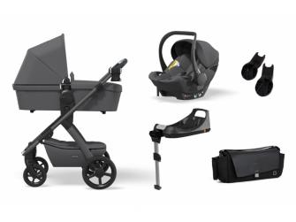 Set N° ONE 2021 MAXI Antra (kočár, autosedačka, Isofix base, adaptéry, pláštěnka, organizér, přebalovací taška)