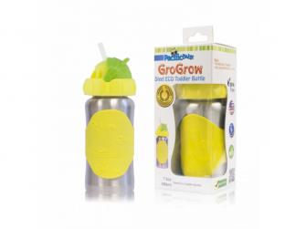GroGrow nerezová ekololáhev s brčkem 380ml žlutá