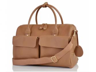 LORETO hnědá - luxusní kožená přebalovací taška
