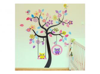 Dětské samolepky - Velký strom a sovičky