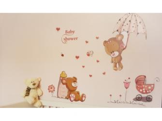 Dětské samolepky - Medvídek s kytičkami/srdíčky