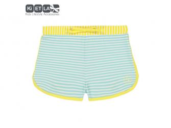 plavky s UV ochranou šortky 6 m, zelený proužek