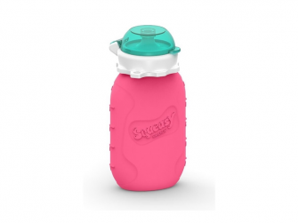Silikónová kapsička na dětskou stravu 104ml - růžová