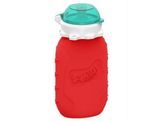 Silikonová kapsička na dětskou stravu 180 ml - červená