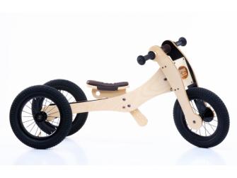 Dřevěné odrážedlo / tříkolka  4v1 HNĚDÁ
