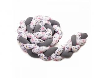 Pletený mantinel 180 cm, anthracite/roses