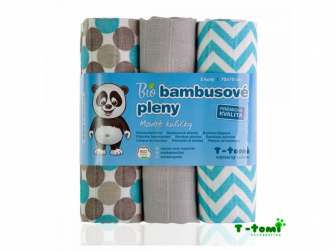 BIO Bambusové pleny, blue balls / modré kuličky, 3ks 4
