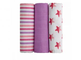 BIO Bambusové pleny, pink stars / růžové hvězdičky, 3ks