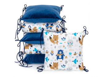 Polštářkový mantinel VELVET, blue bears 35 x 35