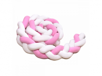 Pletený mantinel 180 cm, white + pink