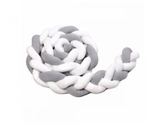 Pletený mantinel 180 cm, white + grey