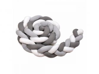 Pletený mantinel 180 cm, white + grey + anthracite