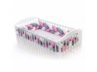 Pletený mantinel 180 cm, white + grey + pink 2
