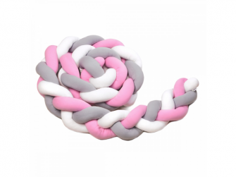 Pletený mantinel 180 cm, white + grey + pink