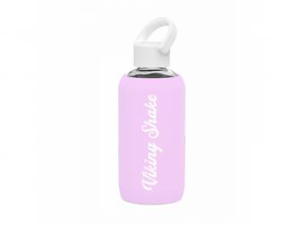 Lahev na vodu 420ml skleněná silikonový obal Pink