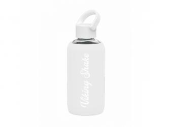 Lahev na vodu 420ml skleněná silikonový obal White